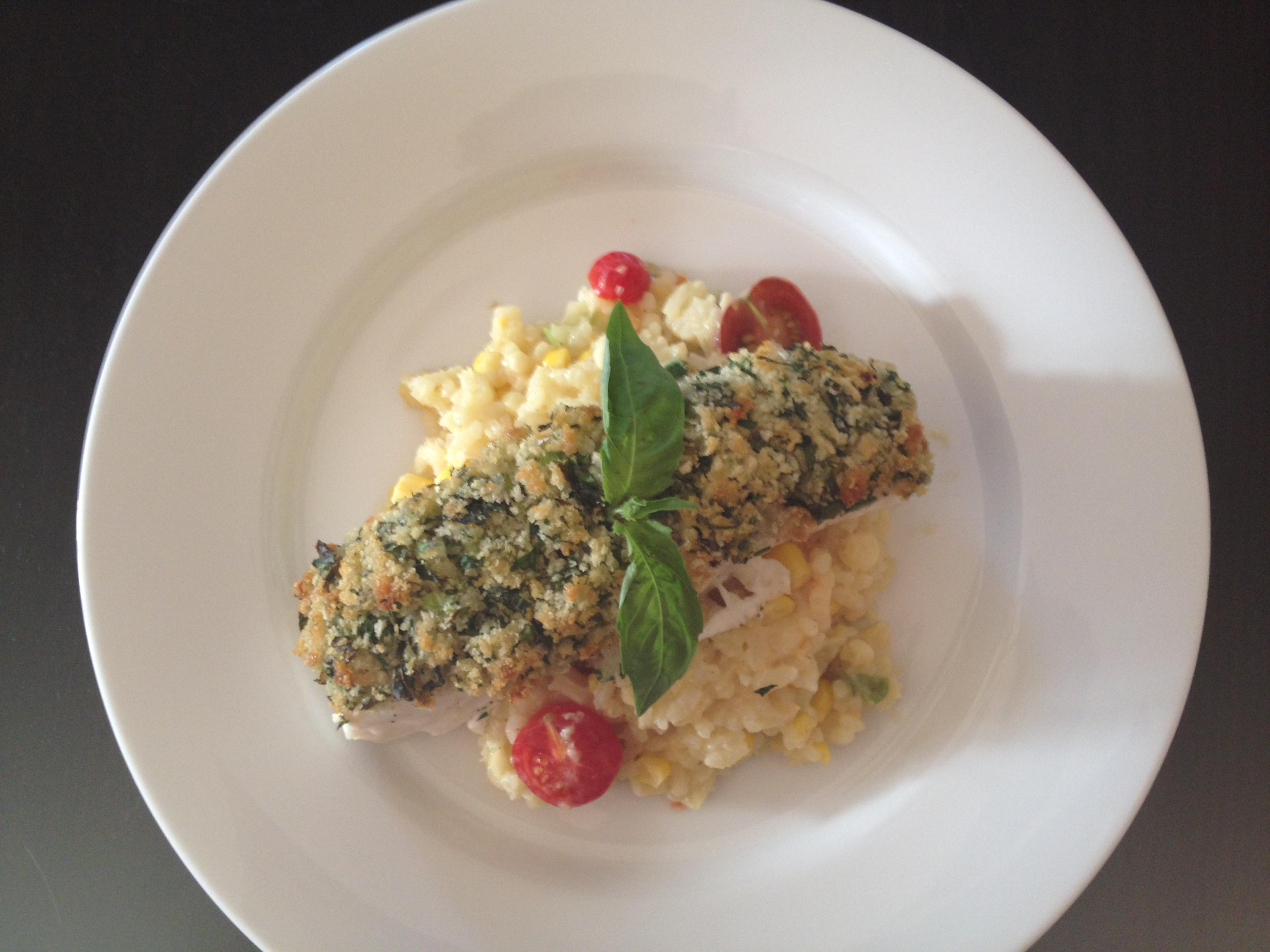 Herb Crusted Halibut on Summer Vegetable Risotto