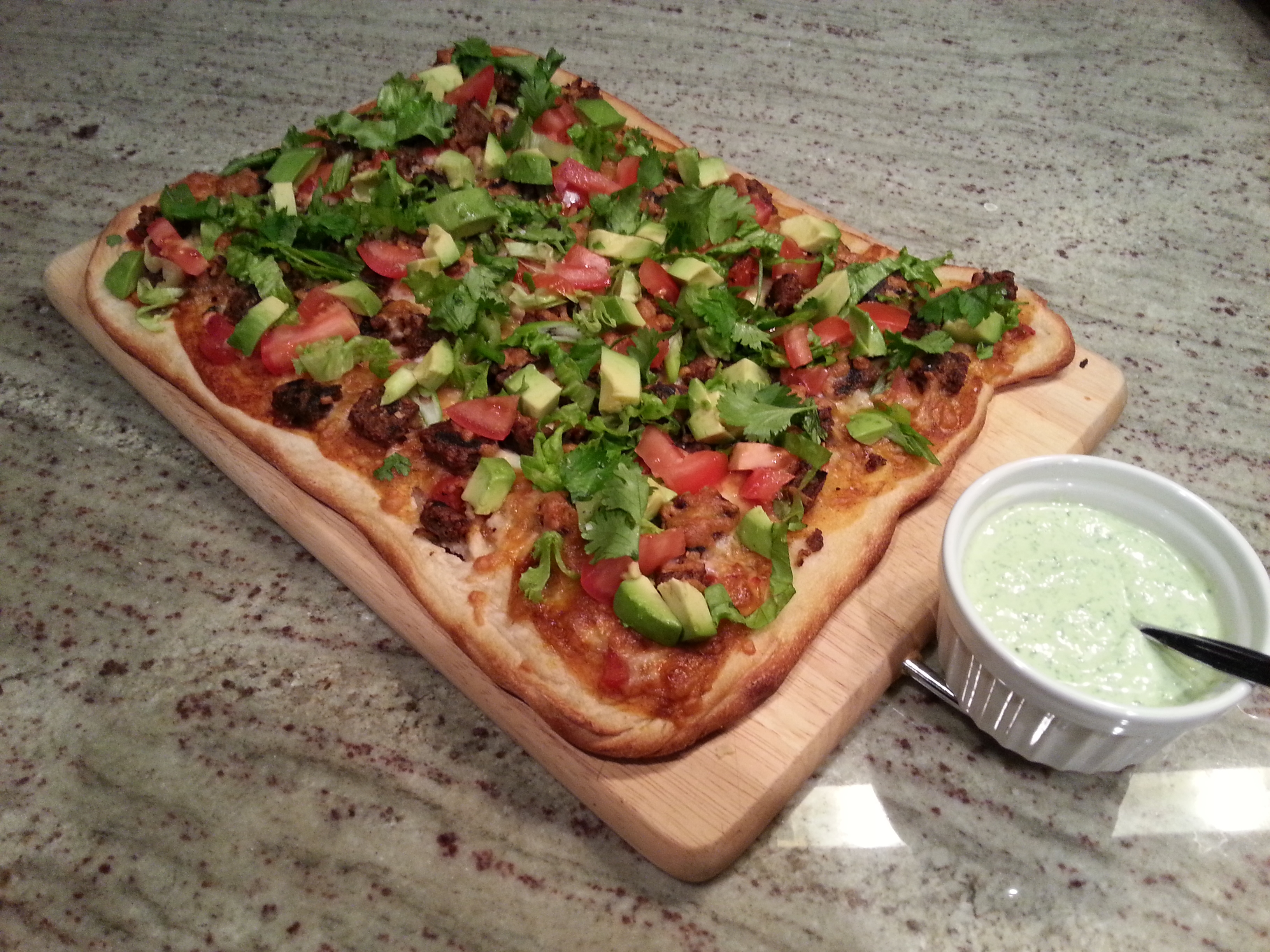 Mexican Pizza with Cilantro Lime Crema